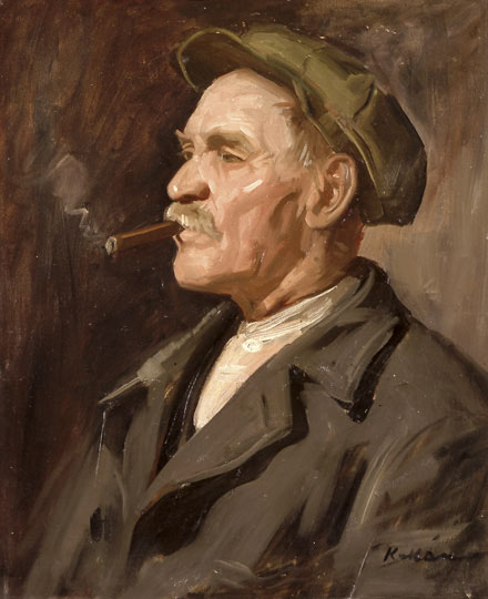 Kukán_Portrait_of_a_Man_Smoking_a_Cigar
