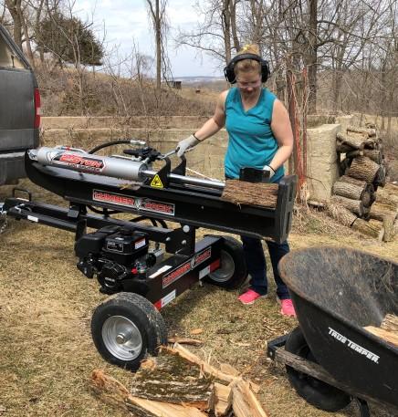 Regan splitting firewood